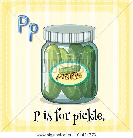 Flashcard letter P is for pickle illustration