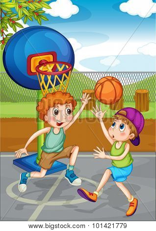 Two boys playing basketball outside illustration