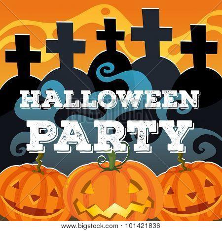 Halloween theme with jack-o-lantern illustration