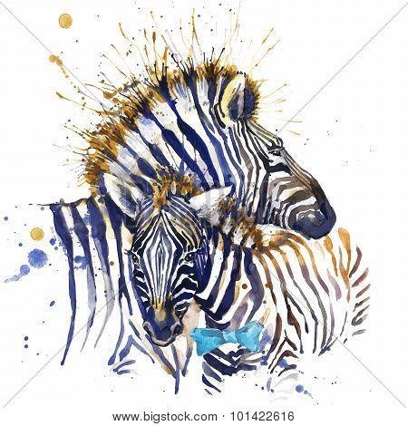 zebra family T-shirt graphics. zebra illustration with splash watercolor textured  background. unusu