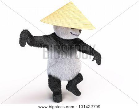 Chineese Cheerful Character Panda Fluffy Teddy