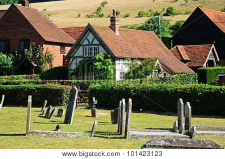 St Marys churchyard and cottages, Turville.