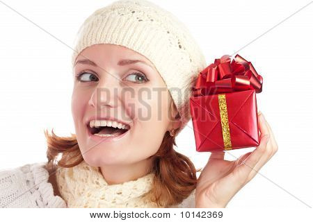 Beautiful Smiling Woman With Gift
