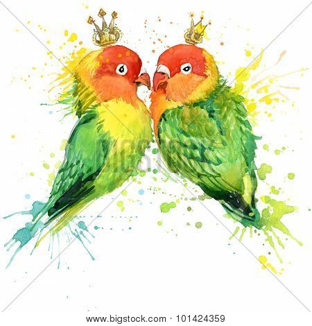Family Parrot T-shirt graphics. Parrot illustration with splash watercolor textured  background. unu