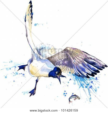 seagull T-shirt graphics. seagull illustration with splash watercolor textured  background.