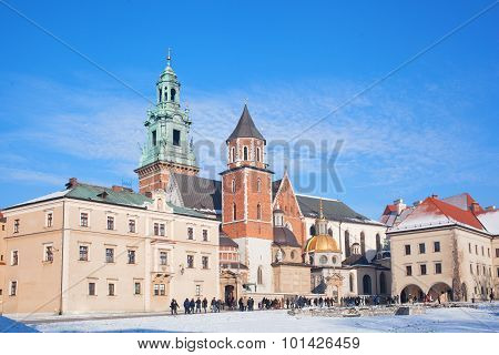 tourists In The Territory Of The Wawel Castle.