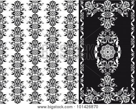 Floral Patten Black And White Seamless, set