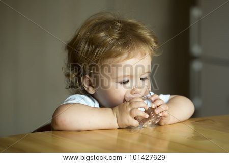 Little Cute Child Boy Drink Water