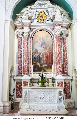 Dobrota, Montenegro - September 05, 2015: Madonna With Child And Saints, Catholic Church Saint Eusta