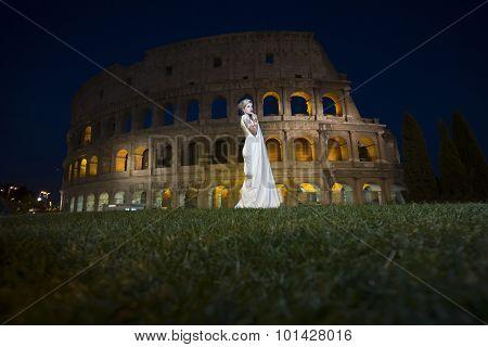 Pretty Bride Near Coliseum