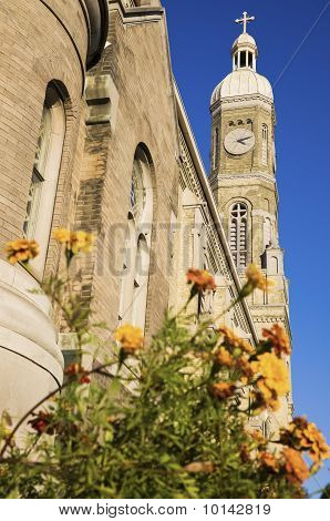 Flowers In Front Of St Stanislaus Catholic Church