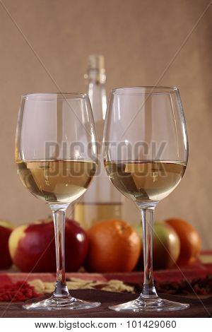 Pair Glasses With Bottle And Fruits