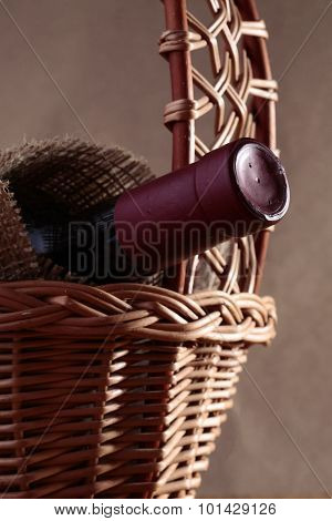 Closed Bottle In Basket