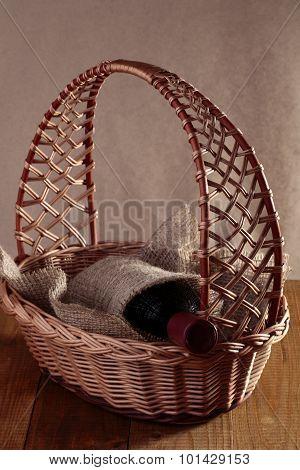 Bottle Of Wine In Basket