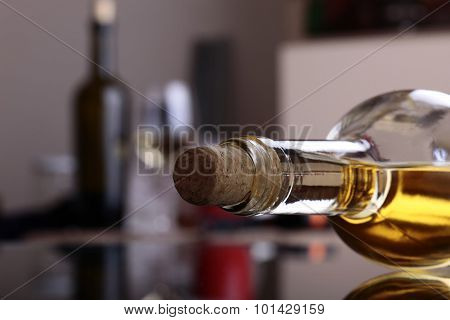 Uncorked Bottle Of White Wine