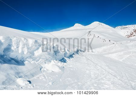 Ski Slope On The Mount Elbrus