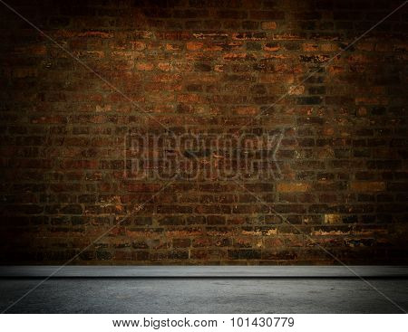 Old Brick Wall And Concrete Floor.