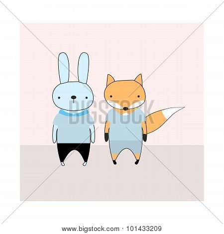 Rabbit and fox cartoon cute vector illustration