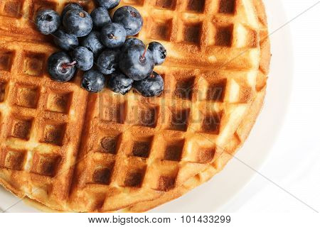 Breakfast - Waffles with Blueberry Top View