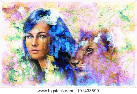 Painting collage Young woman and lion cub. eye contact.