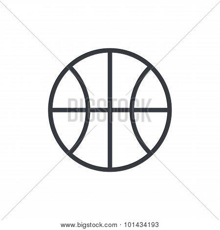 Basketball ball outline icon, modern minimal flat design style. Vector illustration, line symbol
