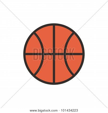 Basketball ball outline color icon, modern minimal flat design style, vector illustration