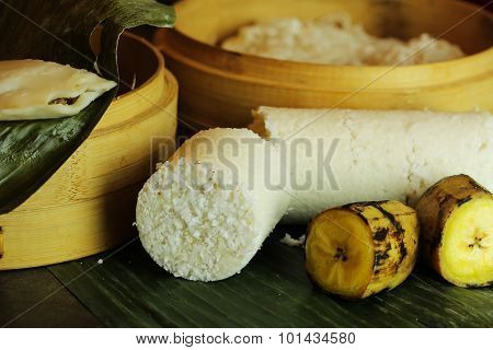 Breakfast - Rice Puttu and steamed plantain banana