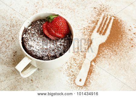 Chocolate mug cake made in microwave