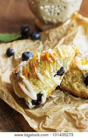 Homemade blueberry scones with glaze