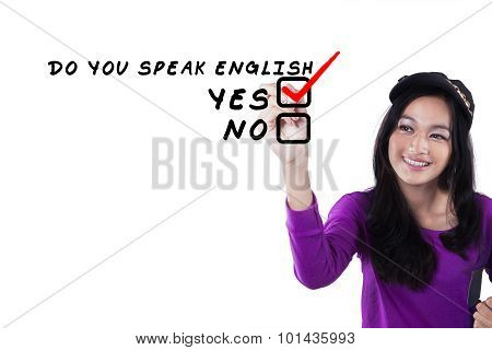 Female Learner Learns English Language