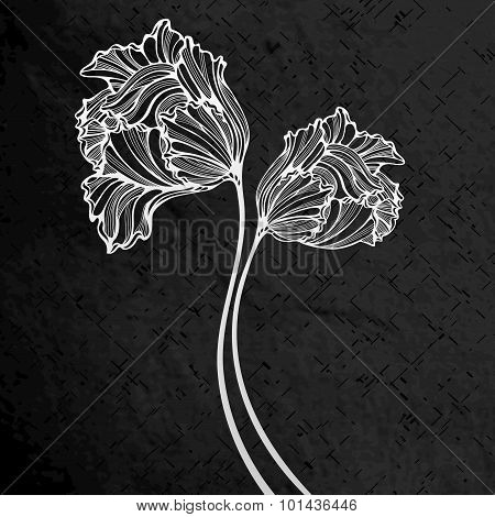 Engraved Background With Abstract Tulips