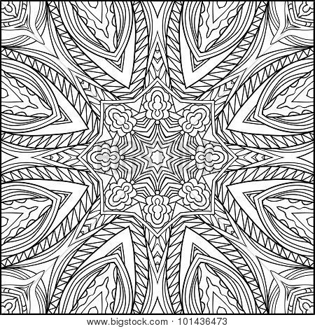 Abstract Sunshine Beams Zentangle Black And White Ornament