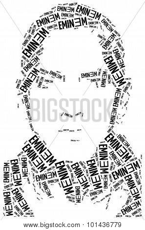 A Word Cloud Portrait Illustration Of Eminem.