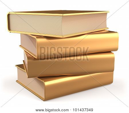 Gold Books Blank Textbook Stack Literature Yellow Golden Icon