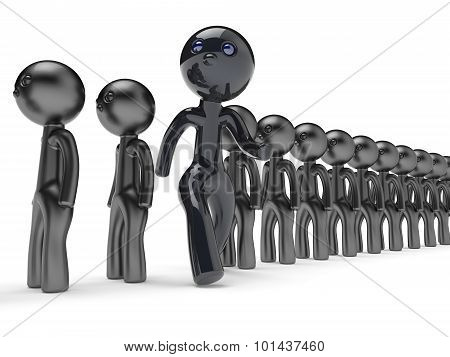 Stand Out From Crowd Unusual Man Different People Character