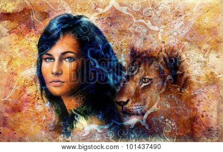 Young woman and lion cub. Woman Portrait with long dark hair and blue eye, color painting with orien