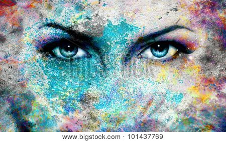 Blue goddess women eye, multicolor background. eye contact.