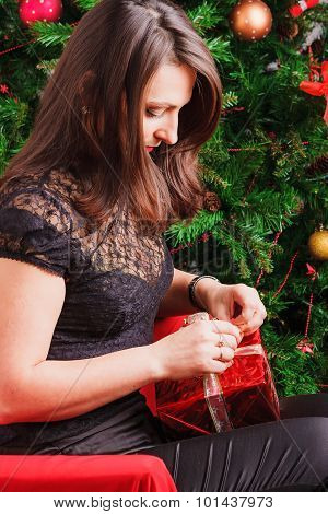 Girl packing gift