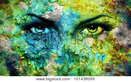 Green goddess women eye, multicolor background. eye contact green background and crackle effect