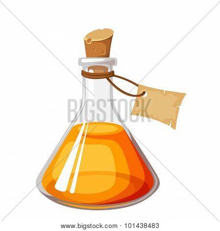 Flask with orange liquid. Vector illustration.
