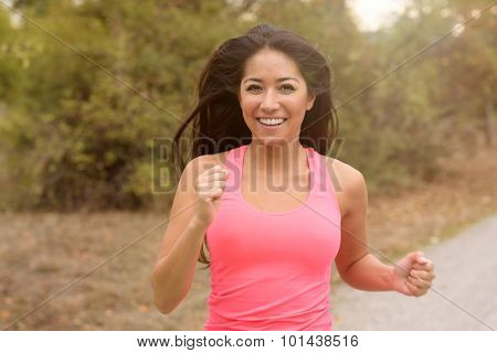 Happy Vivacious Young Woman Out Running