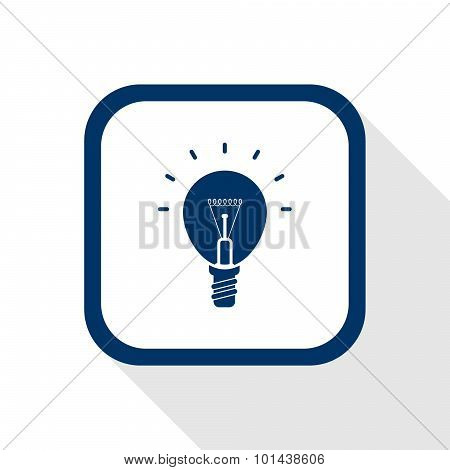 Square Blue Icon Lighting Bulb With Long Shadow