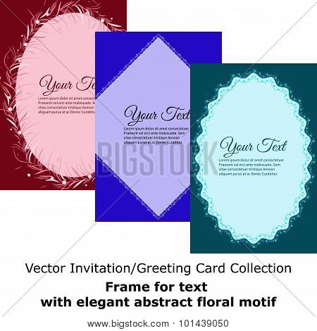 Set Of Frames For Text With Elegant Abstract Floral Motif. Elegant Vector Lettering In Abstract Styl