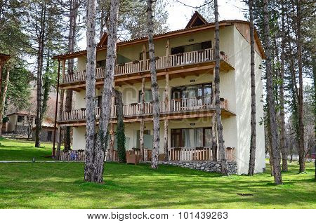 Kakheti, Georgia-March,03 2015: Housing of hotel complex Lopota Resort. Lopota Lake, Georgia