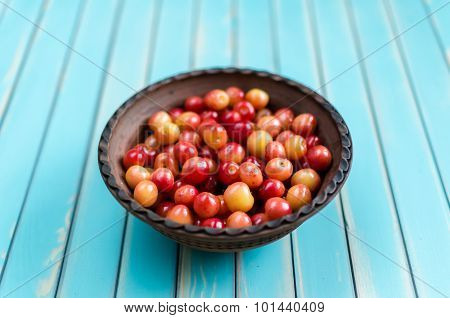 Earthenware Bowl Of Juicy Cherries On Rustic Wooden Turquoise Background