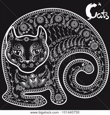 Stylized Drawing Lying Cat On Black Background