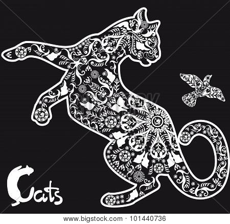 Stylized Drawing  Cat and bird On Black Background