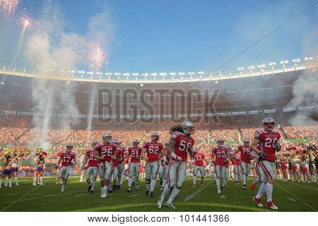VIENNA, AUSTRIA - JUNE 7, 2014: Team Austria runs unto the field before the final game against Germany.
