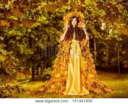Autumn Fairy Woman Forest, Nymph In Yellow Leaves Dress, Fantasy Goddess Earth