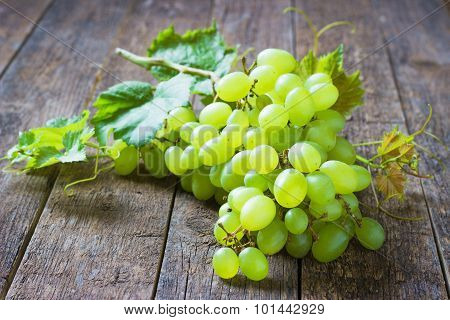 Bunch Green Grapes On Wooden Background Food Closeup